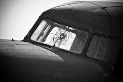 Crashed Dakota (Channed) Tags: bw abandoned window airport nederland thenetherlands cockpit katwijk dakota upc raam valkenburg airbase vliegtuig urbex zuidholland vliegveld barst verlaten skyhigh urbanphotocollective chantalnederstigt vliegbasisvalkenburg upc0713