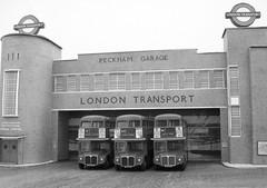Peckham bus garage (kingsway john) Tags: london transport model bus garage pm peckham 176 scale card kingsway models rm routemaster efe londontransportmodel diorama oo gauge miniature