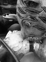 Tiger v Colonialist (ɐqoodɔop) Tags: blackandwhite sculpture art museum tiger attack vanda victoriaandalbert iphone colonialism