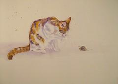 TORTOISESHELLS (GREY PEPPER ART) Tags: cats art feline kittens tortoiseshell watercolour snails