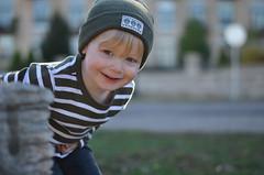 Nolan (seawolfz) Tags: autumn boy portrait cute fall smile hat minnesota happy 50mm kid nikon toddler child sweet stripes minneapolis blonde mn stonearch millcityruins nikond5100