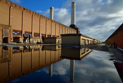 Lovely day for it (Kriegaffe 9) Tags: roof chimney sky reflection water mirror powerstation urbanarte
