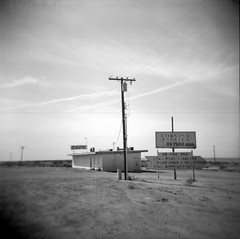 salty sweet (Super G) Tags: california blackandwhite bw abandoned film holga cafe northshore saltonsea trix400tx filmforfriday d7695mins68d11 thequestioniswhy
