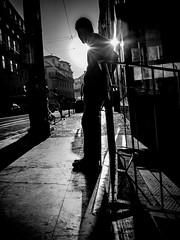 OMD25393 (Nelson de Oliveira) Tags: street morning blackandwhite bw sun white man black silhouette alone lisboa lisbon streetphotography bodie lisbonne bica