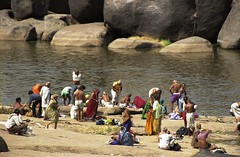 Hampi 7 (marcwiz2012) Tags: people india river asia scan southern local bathing washing hampi localpeople