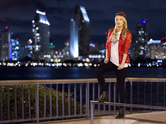 Anna in front of the downtown San Diego skyline (San Diego Shooter) Tags: girls portrait girl model cityscape sandiego bokeh modeling nightportrait downtownsandiego sandiegocityscape {vision}:{people}=099 {vision}:{face}=099 {vision}:{sky}=0809 {vision}:{dark}=0559 {vision}:{text}=0599 {vision}:{outdoor}=0759