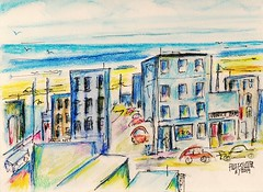 MORNING BY THE BEACH (roberthuffstutter) Tags: new beach beer coffee bars expressionism impressionism venicebeach 1960s beatniks watercolors sketches beachfront freeart fondmemories beachcities hotoffthepress huffstutter americansnapshots huffstuttersart robertlhuffstutter watercolorsbyhuffstutter essaysbyhuffstutter originalsavailable espressoshops bobhuffstutter huffstuttersoriginalphotosart southbaywatercolors southbayscenes