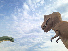 20140125_212556964_iOS.jpg (Monkey Mash Button) Tags: park blue sky white rose clouds texas dinosaur state tx glen valley trex 5c tyrannosaurus iphone iphoneography snapseed