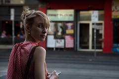 Untitled (Ranga 1) Tags: red girl canon candid fitzroy australian streetphotography australia melbourne streetscene victoria explore suburbs cinematic brunswickstreet davidyoung innersuburbs innermelbourne ef24105mmf4lusm canoneos5dmarkii
