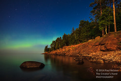 Presque Isle in the Moonlight (Paul*Nelson) Tags: reflection up michigan moonlit aurora moonlight lakesuperior marquette northernlights presqueisle paulnelson lakesuperiorshore michigansupperpeninsula