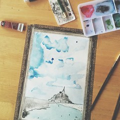 Some watercolor today. Mont Saint-Michel, France #vscocam #watercolor #france #sea (allyourheartphotography) Tags: france watercolor square relax fun squareformat mont saintmichel washi washitape iphoneography instagramapp uploaded:by=instagram