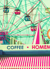 Coney Island (_Andrea Carolina) Tags: park carnival red summer sky baby newyork bird art love beach home birds vintage coneyisland spring aqua turquoise pastel room nursery mint retro ferriswheel prints lunapark decor brightonbeach photograhy