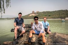 Summer Palace Crew (cseward) Tags: china trees portrait people lake tower water asian azn three ginger boat pond rocks asia group chinese palace redhead westlake summerpalace paddleboat hdr   padoga yun yh