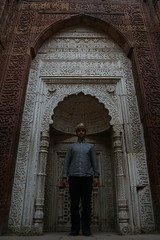 me in the mihrab of the tomb of iltutmish. qutb minar. delhi. (pauldornau) Tags: street winter food india me tomb minar qutb mihrab delhidelhi iltutmish