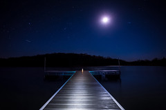 On the Dock (dshoning) Tags: 52weeksof2017 dock water light painting sky night moon stars lantern iowa march odc pond