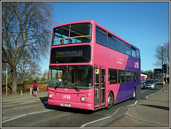 UNO 281 Westbridge (Jason 87030) Tags: alx400 sn51sye 281 pink purple westbridge northampton town northants northamptonshire sixfields edgarmobbseay uni university uon education campus students decker transport alexander trident light march 2017 roadside shot photo traffic publictransport