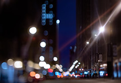 Street lights (Jovan Jimenez) Tags: street light lights bokeh flare sony ilce 6500 a6500 alpha 50mm f12 tiltshift tilt shift nikor nikon chicago downtown city night manual lens ray streak