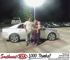Southwest KIA of Rockwall would like to say Congratulations to Joan Smith on the 2010 Chevrolet Malibu (Southwest Kia Rockwall) Tags: new southwest car sedan truck wagon happy dallas texas tx used vehicles mesquite bday dfw kia van suv coupe rockwall dealership hatchback dealer customers minvan 4dr metroplex shouts 2dr preowned