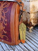 Hand Tooled Leather Origami Purse & Hand Carved Leather Feather