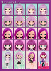 Neo Blythe: Comparison of Lavender Hug (LH), Simply Lilac (SL), Prima Dolly Violetina (PD3Vi) and Simply Thumpty Thump (STT)