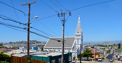 our lady of lourdes chapel - 1942 (pbo31) Tags: sanfrancisco california blue panorama white color church northerncalifornia june nikon view over large chapel panoramic bayarea bayview 1942 stitched ourladyoflourdeschapel 2013 d700