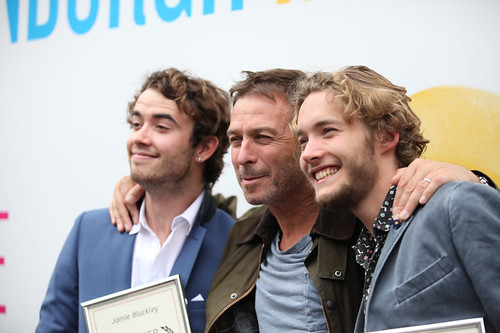 UWantMeToKillHim actors Jamie Blackley and Toby Regbo outside the Filmhouse after the Awards ceremony with their Award