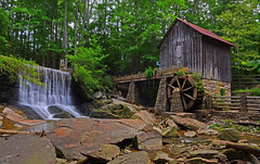 Lefler Mill (davidwilliamreed) Tags: wood old longexposure roof water weather metal tin rocks dam rusty siding crusty mariettaga lifeuniversity leflermill