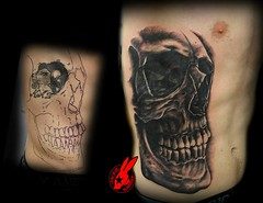 Realistic Skull Cover-up Tattoo by Jackie Rabbit (Jackie rabbit Tattoos) Tags: california ca city flowers flower cute sexy up tattoo vintage nude real skull star virginia 3d cool colorful pretty tits heart boobs good awesome great pussy evil creepy cover roanoke va ribs rib chico tat coverup realistic jackierabbit eyeofjade