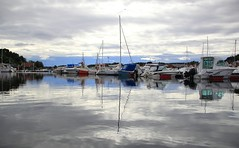 Fevik Havn, Aust Agder, Norway (Duncan Tait) Tags: water norway clouds reflections coast boat day cloudy harbour yacht bluesky austagder fevik canon60d
