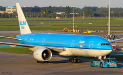 KLM (ASIA TITLES) 777-200ER PH-BQI (birrlad) Tags: new york sunset usa sunlight dutch amsterdam airplane airport gate asia taxi aircraft airplanes royal terminal jfk apron airline boeing airways klm airlines departure schiphol 777 runway tow ams decals airliner titles departing livery taxiway 777200 777200er