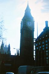 Big Ben / Elizabeth Tower (Melissa O'Donohue) Tags: uk travel england london tower english clock film vintage dark europe time unitedkingdom britain parliament bigben 2006 clocktower wanderlust huge disposablecamera british traveler ldn elizabethtower