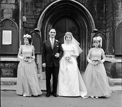 Bride, groom and bridesmaids (vintage ladies) Tags: wedding portrait people blackandwhite man church vintage groom bride 60s tie suit bridesmaids trousers weddingdress brideandgroom 60swedding 60swoman 60slady