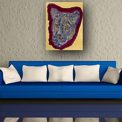 Blue & Gray Cougar - Abstract Poured Painting (leemanstedler67) Tags: abstractseascape abstractbutterflies abstractpouredpainting abstractpouredpaintings