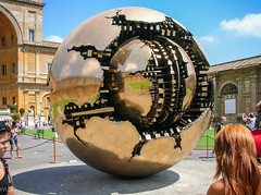 Sphere Within Sphere (Tiigra) Tags: 2007 italy rome vatican circle sculpture shape texture vaticancity art pattern reflection