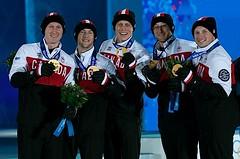 Sochi Ru.Feb22-2014.Winter Olympic Games.Medal Prest.Team Canada Gold.Skip Brad Jacobs,third Ryan Fry,second E.J.Harnden,lead Ryan Harnden,Alt C.Flaxey.WCF/michael burns photo (seasonofchampions) Tags: canada brad gold jones team jennifer ceremony medal podium jacobs olympic olympics curling olympians bradjacobs ryanfry ejharnden ryanharnden calebflaxey