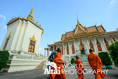 Monks Approaching the Silver Pagoda (Altai World Photography) Tags: silver temple pagoda asia cambodia buddha buddhist south monk buddhism east monks phnompenh southeast wat emerald khm keo phnom penh preah