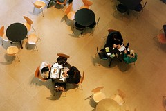 15_0016 (is_that_latin) Tags: dallas cafe texas eating couples artmuseum birdseyeview roundtable dma onthephone twittering mmmchips