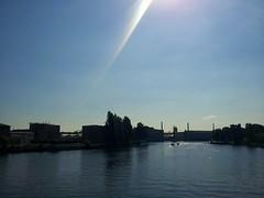 Riverside (dsr_b) Tags: city urban sun berlin river bluesky urbannature noclouds