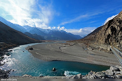 Ghakuch Valley (gilgit2) Tags: road bridge trees pakistan sky snow mountains building ice water clouds canon river landscape geotagged rocks wide structures tags location elements vegetation settlement canonefs1022mmf3545usm summits ghizer gilgitbaltistan canoneos650d imranshah gahkuch gilgit2