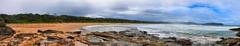 Beach pano on rough sea day (elphweb) Tags: roughseas roughsea ocean nsw australia sea water waves breakers storm coast coastal falsehdr fhdr bigwaves bigsurf surf foam mist