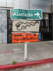 The city of Alameda as viewed from Oakland. (Tim Kiser) Tags: 2015 20150702 7thstreet 7thandwebster 880 alameadathatway alameda alamedacounty alamedacountycalifornia alamedadetour bayarea california eastbay i880 img5981 interstate880 july july2015 oakland oaklandcalifornia oaklandgraffiti sanfranciscobayarea seventhstreet seventhandwebster websterstreet websterstreettube arrow curb detour detoursign downtown downtownoakland graffiti greensign greenwhiteandorange greenwithwhiteletters kerb northerncalifornia orangesign orangewithblackletters paved pavement pointingtoalameda redcurb roadsigngraffiti roadsigns roadtoalameda sidewalk taggedroadsigns taggedtrafficsigns tags theroadtoalameda trafficsigngraffiti trafficsigns unitedstates