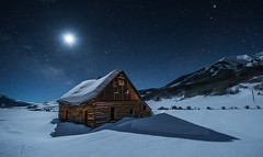 MOONLIGHT SHADOW (wilsonaxpe) Tags: gunnison landscape moon moonlightshadow moonlight barn snow crestedbutte colorado