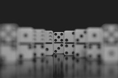 Domino Effect 74/365 (Watermarq Design) Tags: dominoes bokeh blackandwhite 365project leadinglines blur focus reflection monochrome hmbt