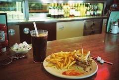 Perfect Patty Melt (Noe.Arteaga) Tags: film lca ketchup burger diner coke fries hamburger analogue c41 pattymeltfood cocacolacocacolacola