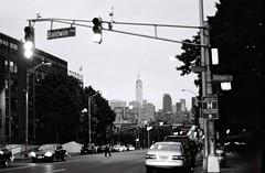WTC down Montgomery (aaronvandorn) Tags: blackandwhite jerseycity worldtradecenter rokkor mcginleysquare