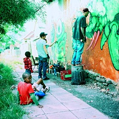 Painters at Play (Mr Baggins) Tags: streetart mediumformat graffiti ishootfilm redrule analogue quest johannesburg jozi rekso kevinlove hasselbladc500 fyia