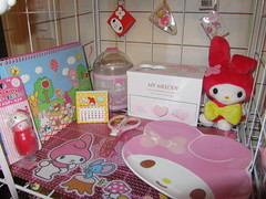 My Melody Shelf (Suki Melody) Tags: hello pink cute rabbit bunny set vintage chains key play calendar box adorable kitty plate books mini jewelry file magnets plush sanrio stamp scissors collection plastic melody 80s kawaii plushie characters goodies folder