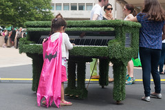 Batgirl Playing Sing for Hope Piano at Lincoln Center (Shawn Hoke) Tags: plaza nyc center lincoln lincolncenterplaza nikond700 singforhope sfhpianos singforhopepianos