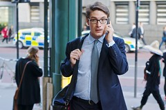 Clark Kent (Nanagyei) Tags: street city people man london mobile phone candid sony streetphotography tie superman suit jacket surprise worker liverpoolstreet calls clarkkent a77 onphone cityboy