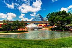 Saturation of Imagination (TheTimeTheSpace) Tags: colors clouds epcot nikon bluesky disney disneyworld imagination waltdisneyworld figment hdr d800 futureworld journeyintoimagination matthewcooper